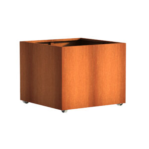 Corten Steel Andes Square with Wheels 100x100x80cm