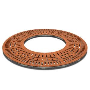 Corten Steel Round Radial Tree Ring by Furns 195x10cm