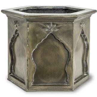 Arabesque Fibreglass Planter Antique Brass 50x50x45cm