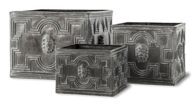Elizabethan Low Cube Planter in Antique Faux Lead Three Sizes