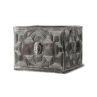 Elizabethan Low Cube Planter in Antique Faux Lead1
