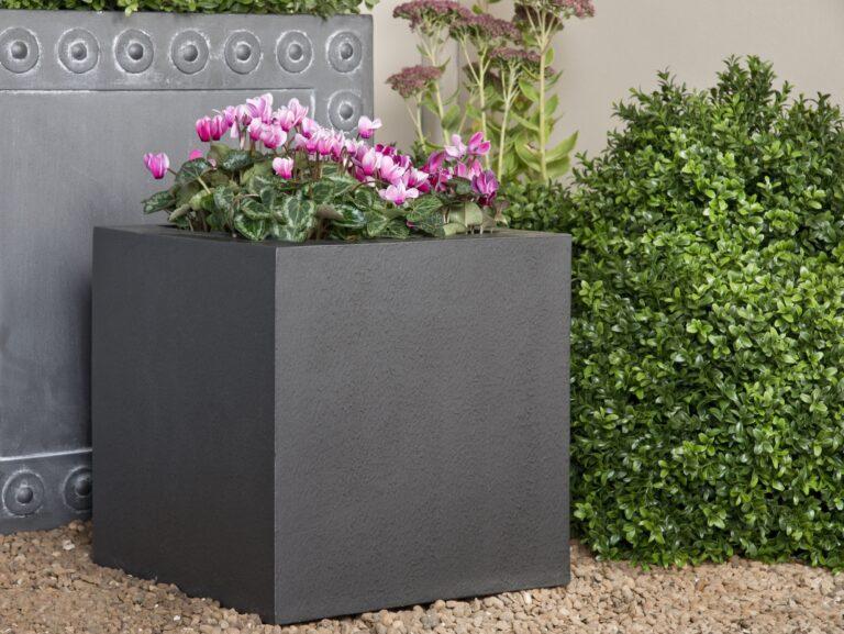 Geo Cube Planter Faux Lead Lifestyle1