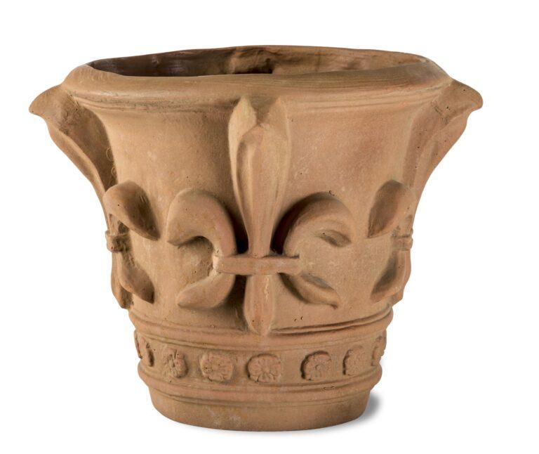 Fleur de Lys Planter in Terracotta