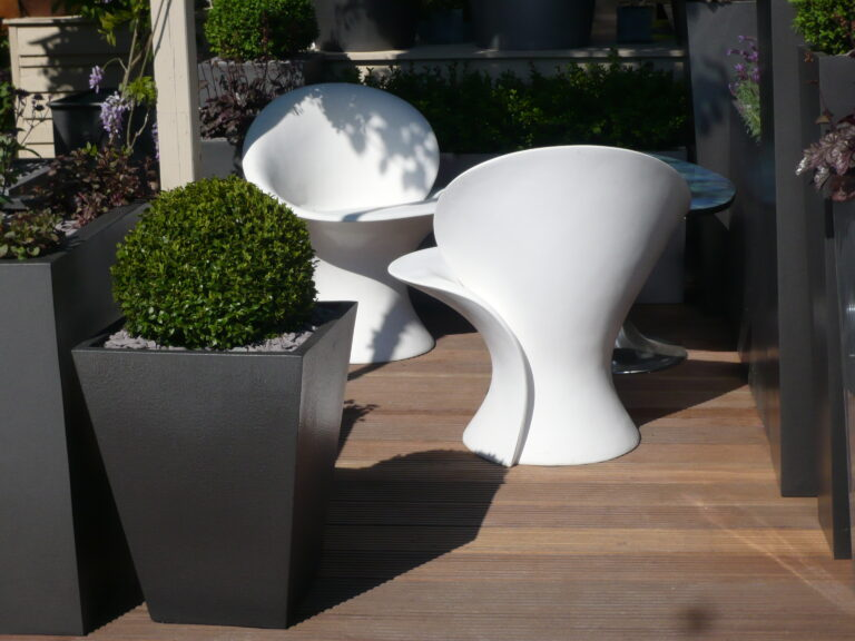 Geo Flared Square Planter in Faux Lead Lifestyle4