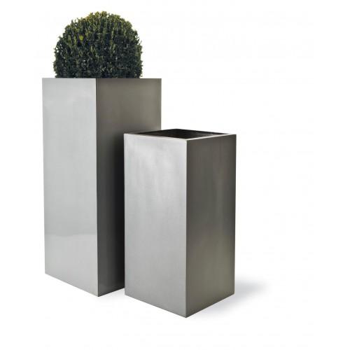 Geo Tower Planter in Textured Aluminium