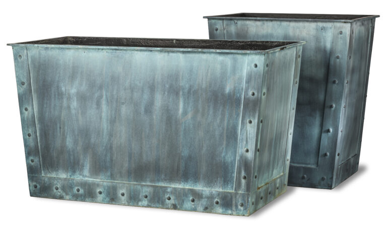 Saxon Tapered Planters in Beaten Copper Two Types
